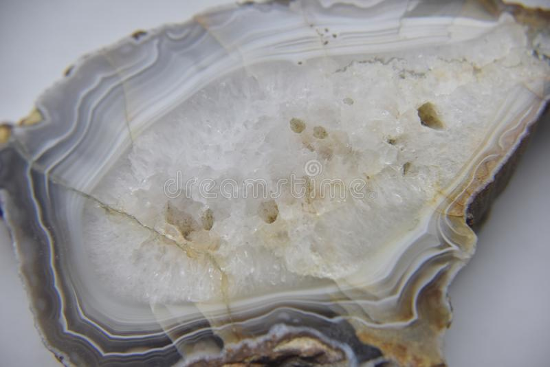 Natural semiprecious agate stone with visible crystal structure stock photography