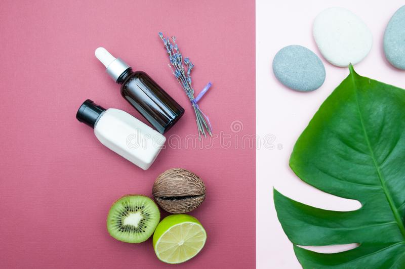 Natural set with organic oil and cosmetics  with  lavender and kiwi top royalty free stock image