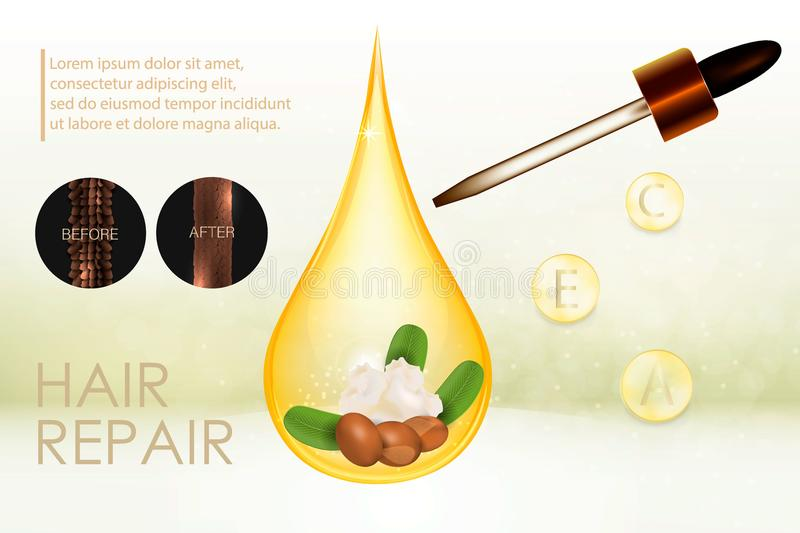 Natural shea butter for hair care. Vector