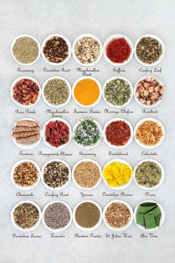 Free Natural Skin Care Herbal Medicine Collection Stock Photo - 177767780