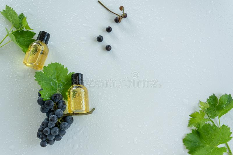 Natural skin care products with grape extracts . Healthy organic remedy. Superfood for the skin stock photo