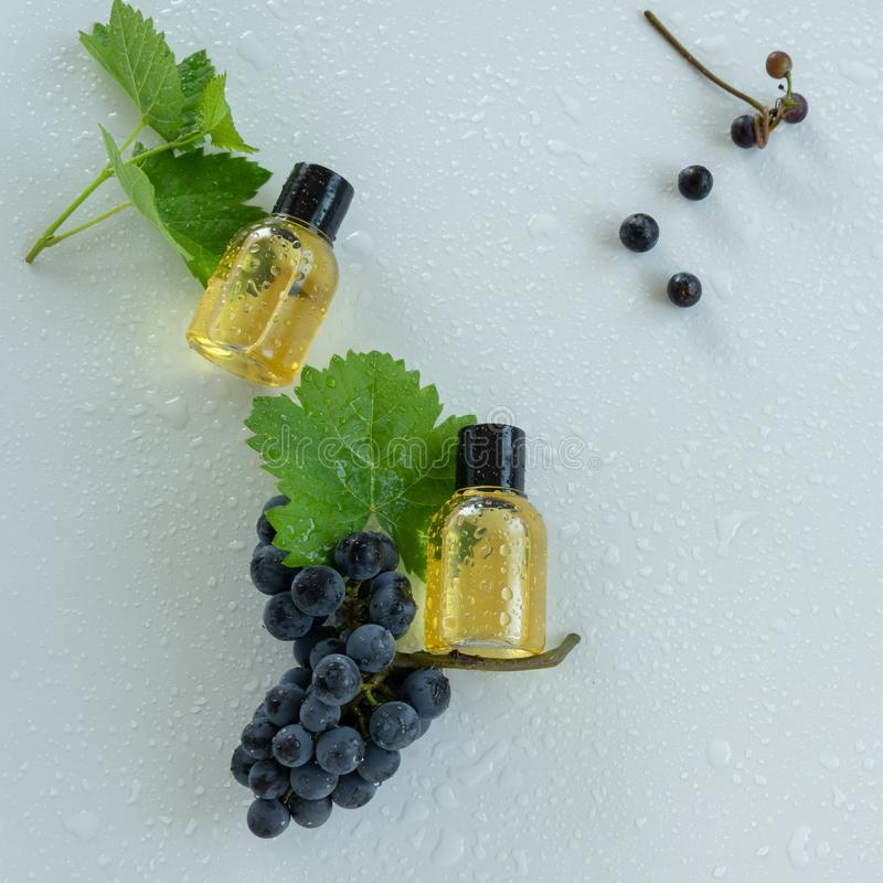 Natural skin care products with grape extracts . Healthy organic remedy. Superfood for the skin stock photography