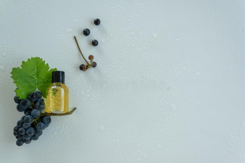 Natural skin care products with grape extracts . Healthy organic remedy. Superfood for the skin stock images