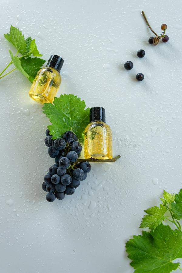 Natural skin care products with grape extracts . Healthy organic remedy. Superfood for the skin royalty free stock image