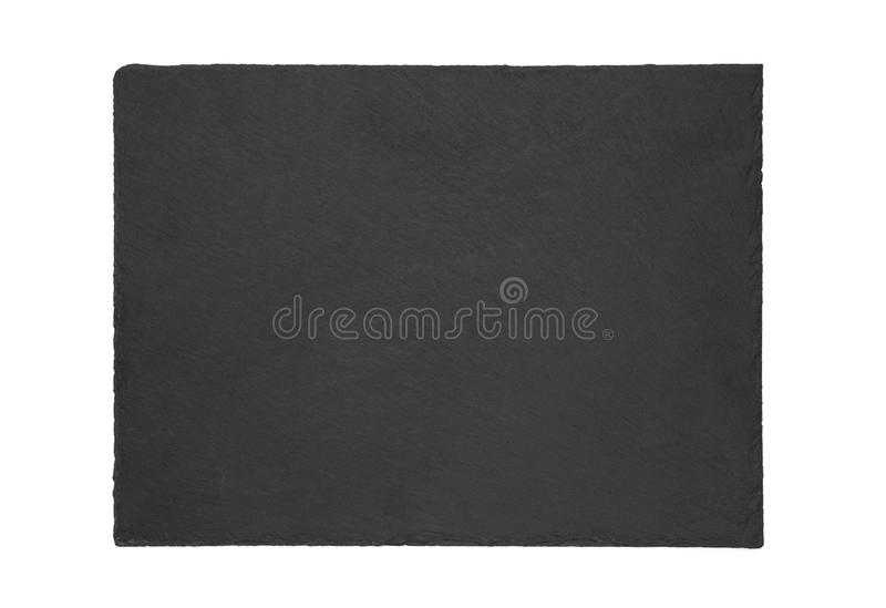 Natural slate plate isolated on white background.  stock image