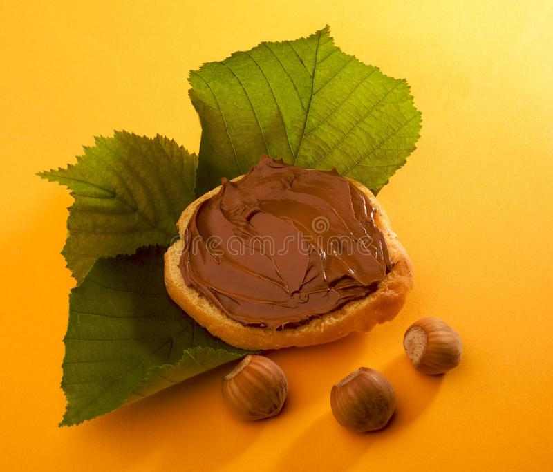 Natural snack. A natural snack with chocolate royalty free stock photos