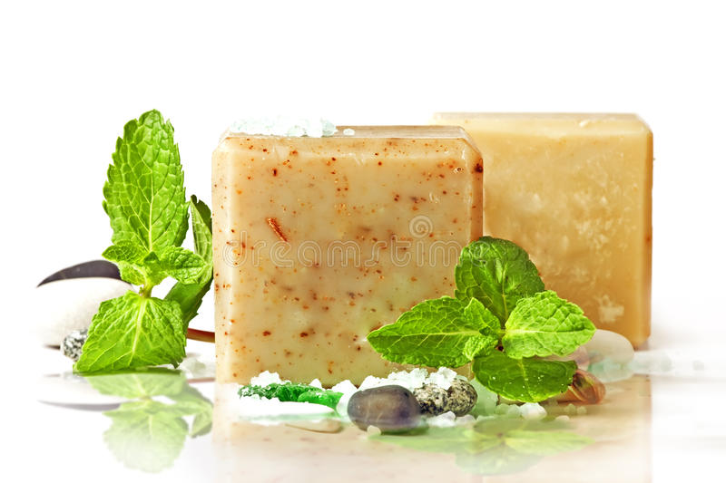 Natural soap and mint royalty free stock photos