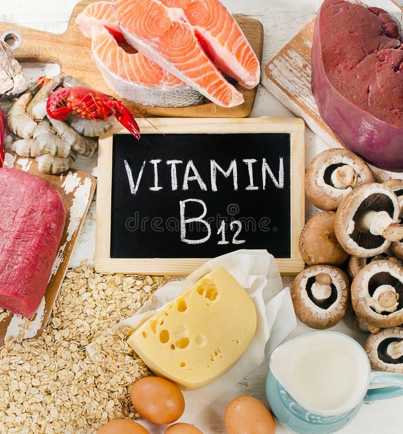 Natural sources of Vitamin B12 Cobalamin. Top view stock photography