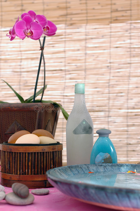 Natural Spa. Spa treatment items in a natural setting. The bottles have arty generic lables I created