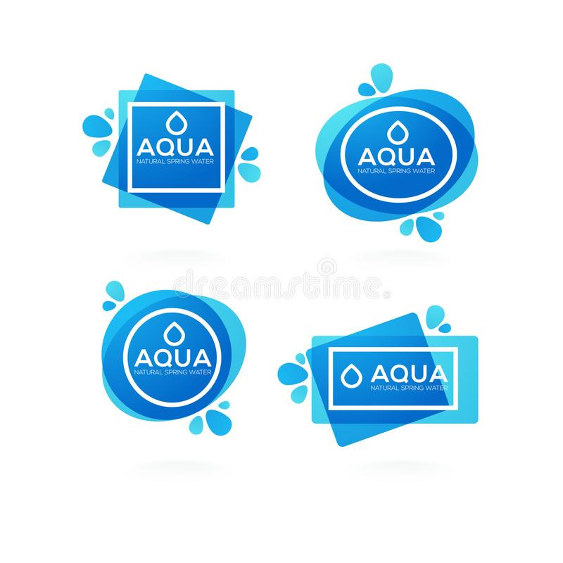 download natural spring water vector logo labels and stickers template stock vector illustration