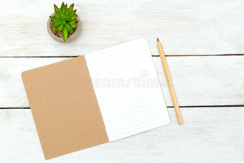 Natural Stationery on wooden background. Zero waste royalty free stock photos