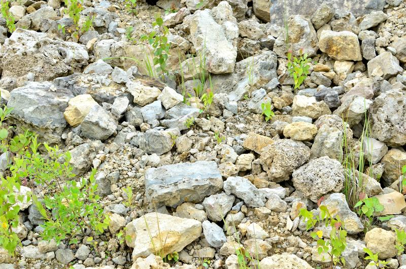 Natural stone dolomite in the limestone open-pit. Building materials, wall background, texture royalty free stock photos