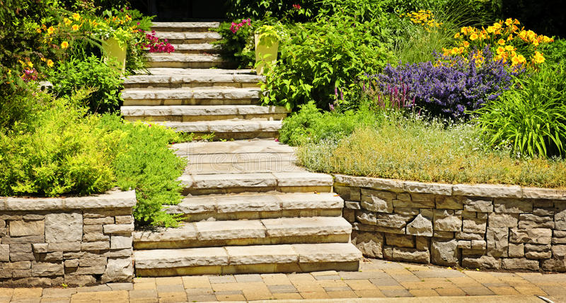 Natural stone landscaping stock images