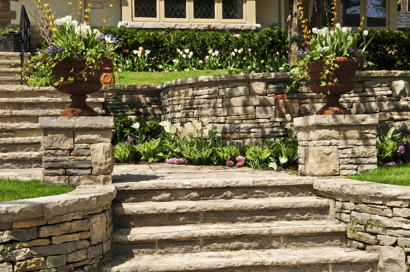 Natural stone landscaping royalty free stock image