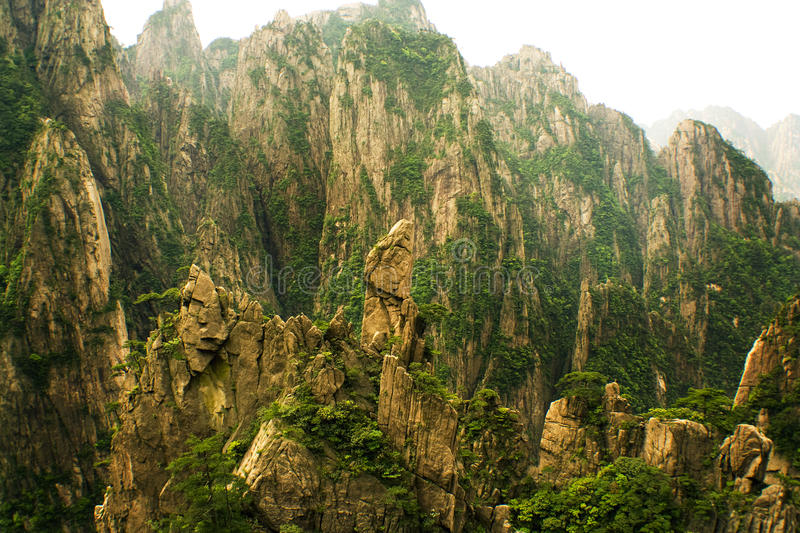 Natural stone sculptures in huangshan, china stock image