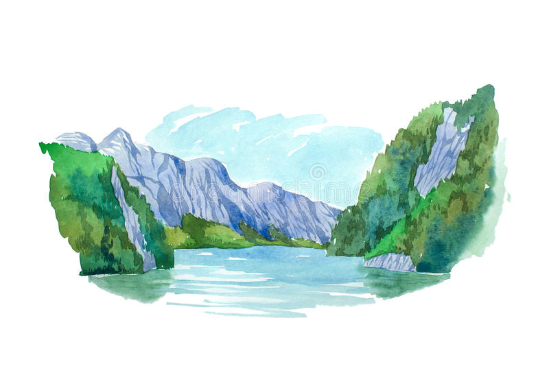 Natural summer landscape mountains and lake watercolor illustration. stock illustration