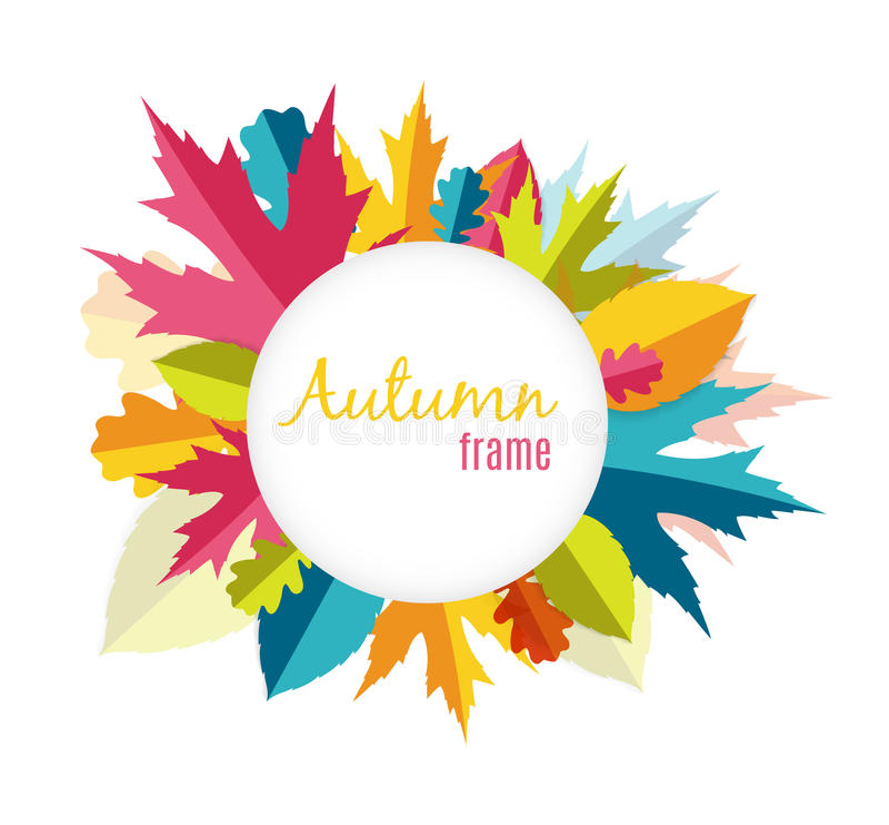 Natural Sunny Autumn Leaves Frame Background Vector Illustration vector illustration