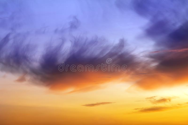 Natural sunset or sunrise with vibrant colors. Dramatic colorful sky background stock photo