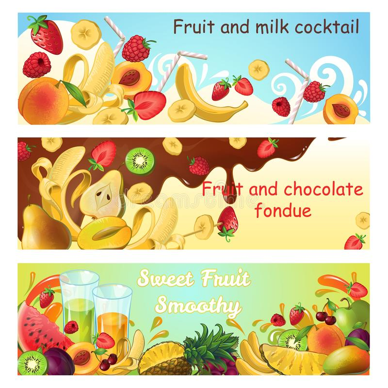 Natural Sweet Products Horizontal Banners vector illustration