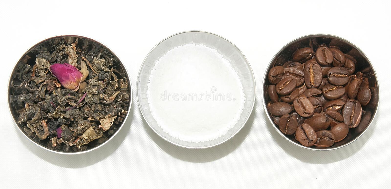 Natural tea, coffee and sugar stock photos