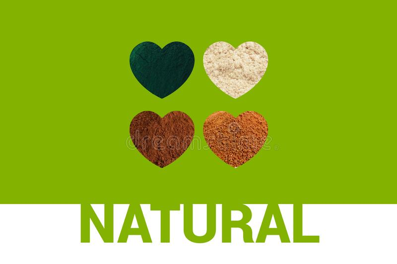 Natural text Hearts with spirulina powder, cacao powder, almond flour and coconut palm sugar royalty free stock photos