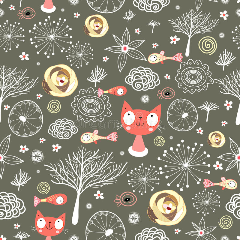 natural textures with cats and fish vector illustration