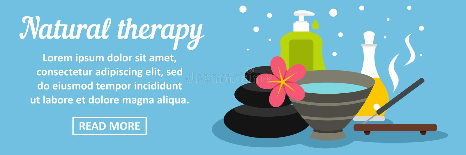 Natural therapy banner horizontal concept. Flat illustration of natural therapy banner horizontal vector concept for web vector illustration