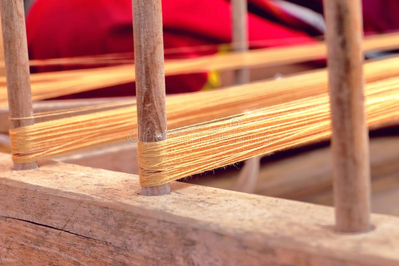 Natural thread for handwoven cotton. In Thailand stock photo