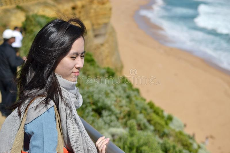Natural travelling girl stock photo