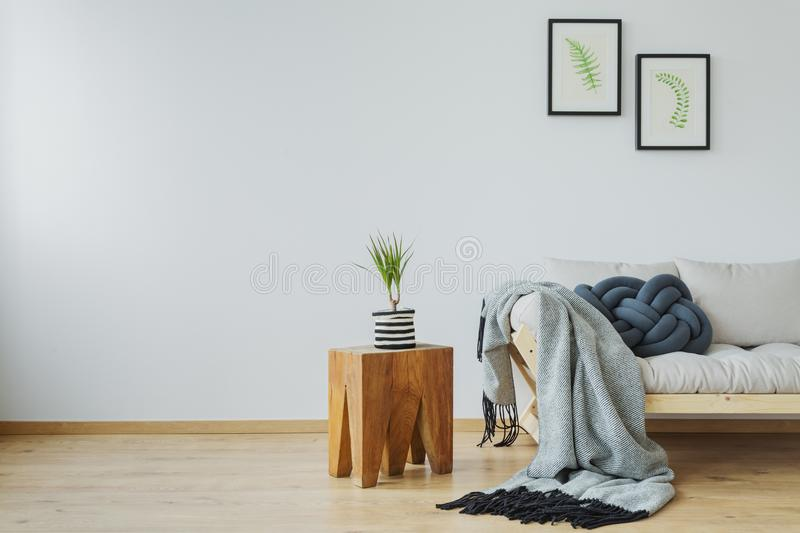 Natural tree stump table. Cozy home decor with natural tree stump table, plant, posters and soft gray cotton blanket lying on the wooden beige couch stock photos