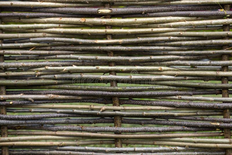 Natural tree trunk texture. Fence of wooden twigs. Garden decor, barrier, border, boundary. Spring summer season stock photo