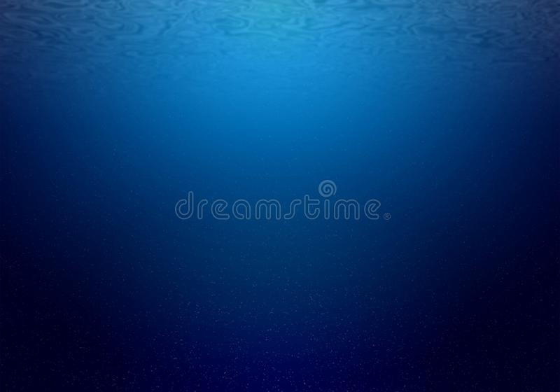 Natural underwater background of deep ocean with sunlight royalty free stock photo