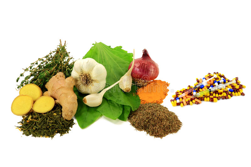 Natural versus Pharmaceutical Antibiotics. Group of Natural Remedies with Antibiotic, Anti Inflammation and Antiseptic Effects versus Group of Pharmaceutical stock photography