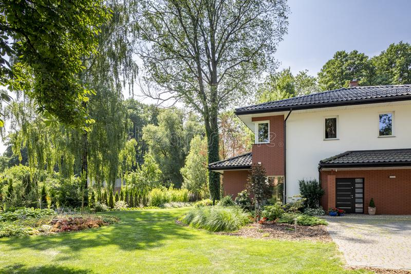 Natural view of trees and garden of modern house. With windows and door royalty free stock photo