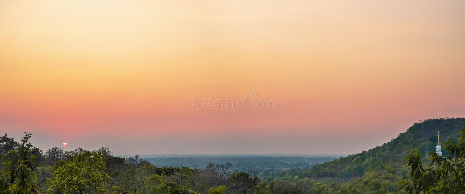 Natural viewpoint at sunset, Nong Bua Lamphu, Thailand.  stock photo