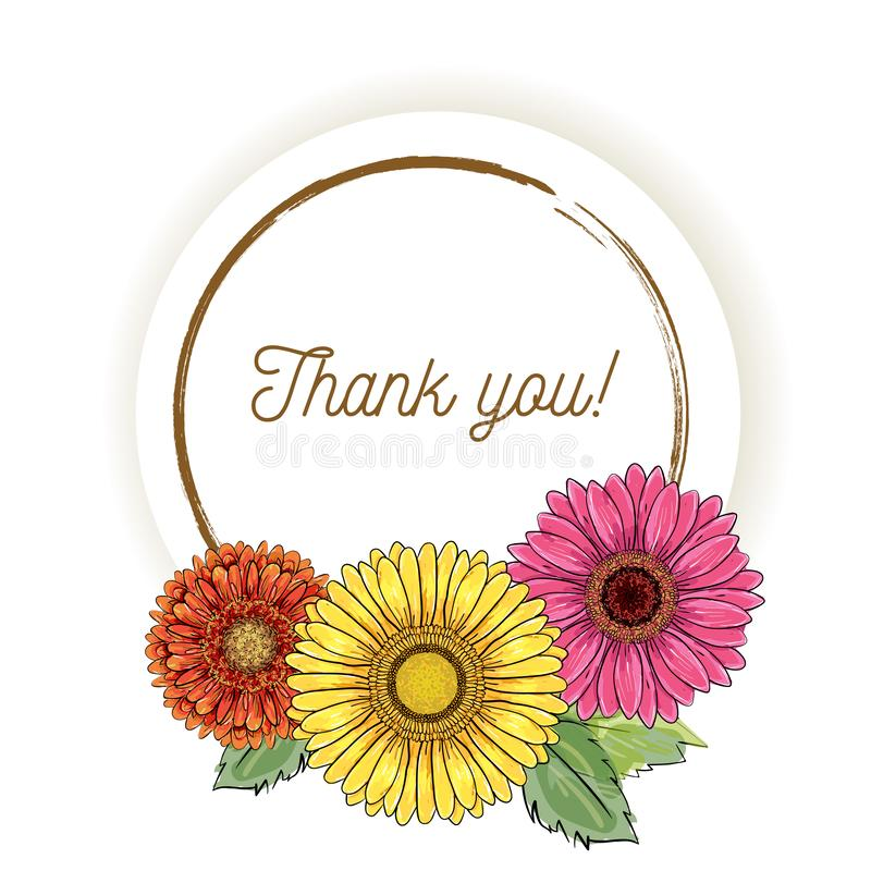 Natural vintage greeting card with inscription of words Thank you with yellow, orange, pink magenta gerbera flowers. Vector hand stock illustration