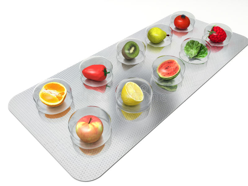 Natural vitamin pills royalty free stock image