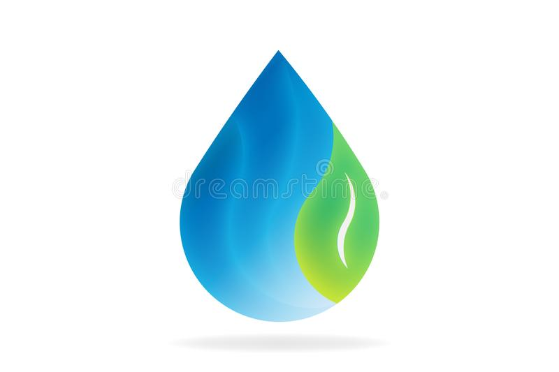 Natural water drop with leaf. Vector Logo Symbol royalty free illustration