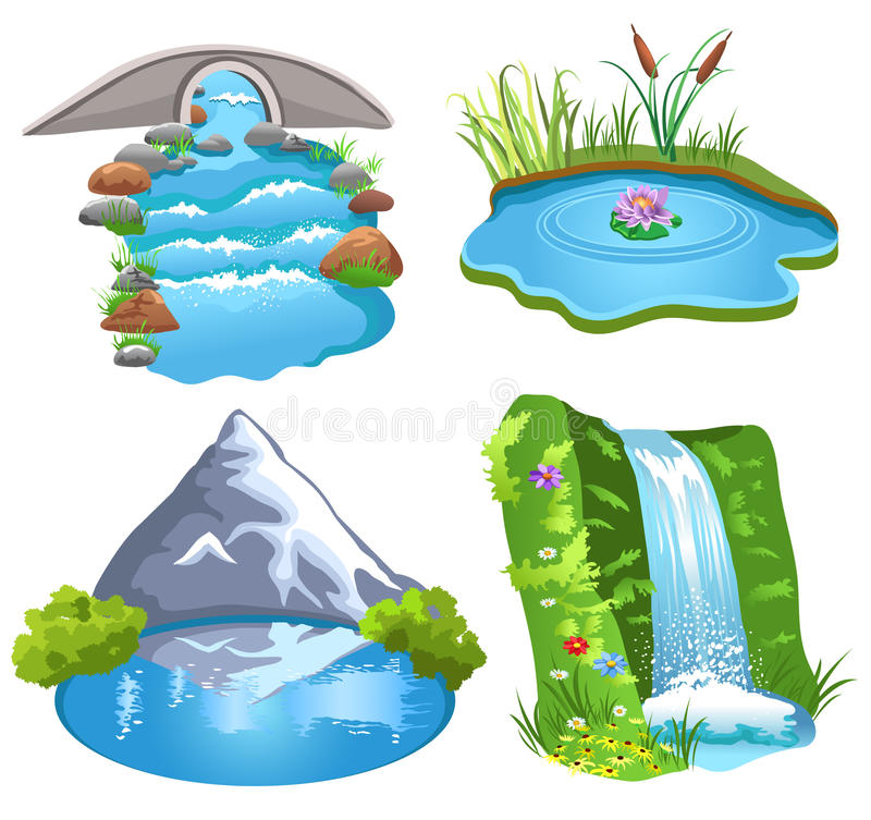 Download Natural water stock vector. Image of flowing, grass, element - 32487621