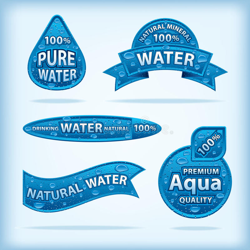 Natural water labels. Set of different natural water labels royalty free illustration