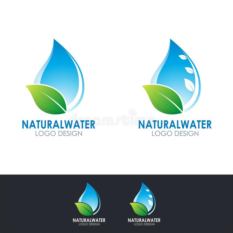 Natural Water logo design with water drop and leaf illustration royalty free stock photos