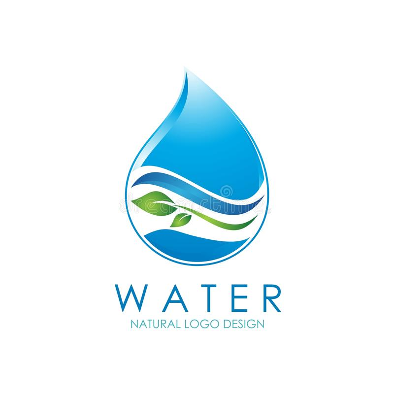 Natural Water logo design with water drop and leaf illustration royalty free stock photo