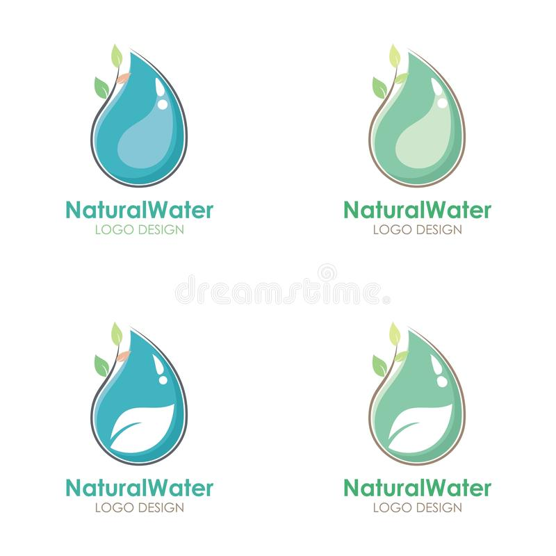 Natural Water logo design with water drop and leaf illustration vector illustration