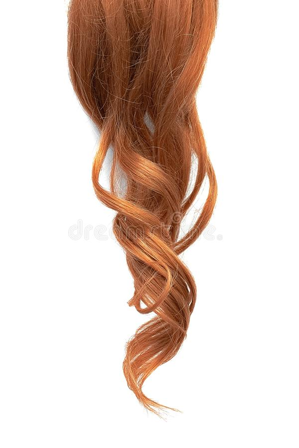Natural wavy red hair isolated on white background. Natural healthy hair isolated on white background. Detailed clipart for your collages and illustrations stock images