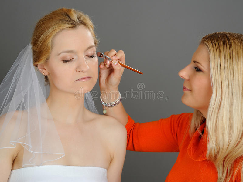 Natural Wedding make-up applied to pretty bride stock images