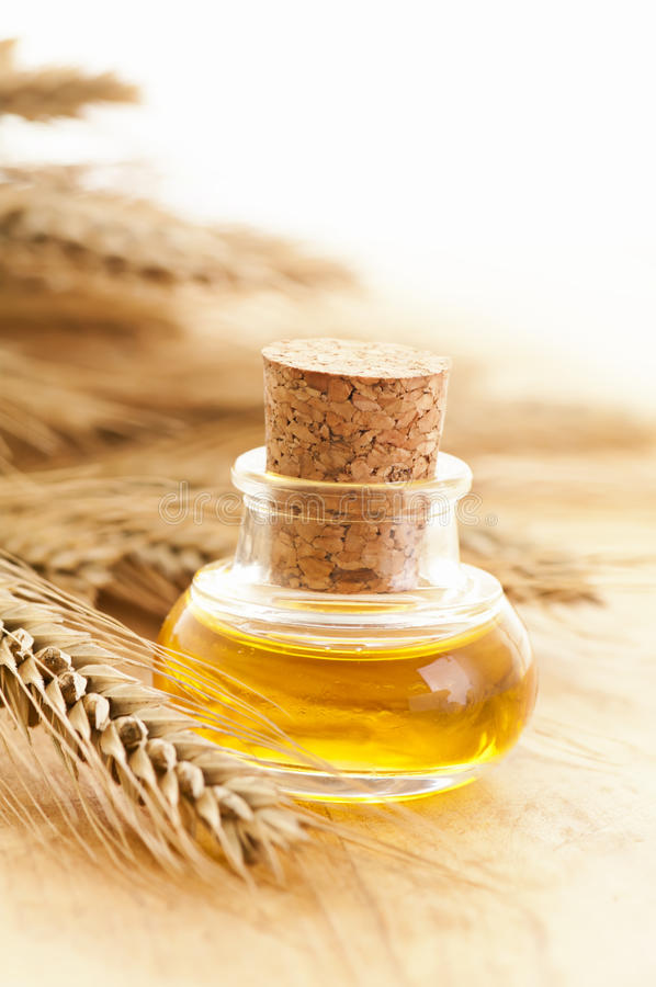 Natural wheat germ oil. As closeup royalty free stock images