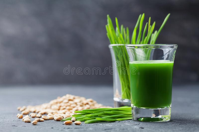 Natural wheat grass juice. Detox, diet and superfood concept. Natural wheat grass juice. Detox, diet and superfood theme royalty free stock images
