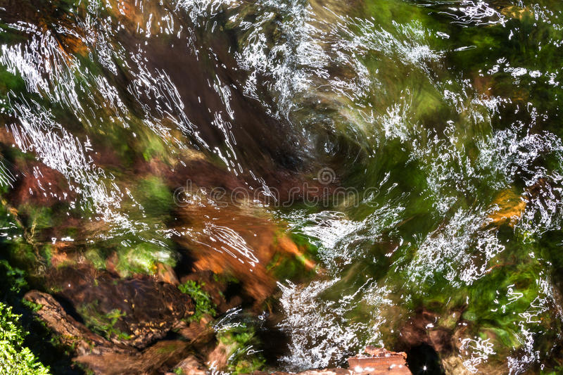 Natural whirlpool. Close up of a whirlpool on a small river with green and orange leaves adding color royalty free stock photography
