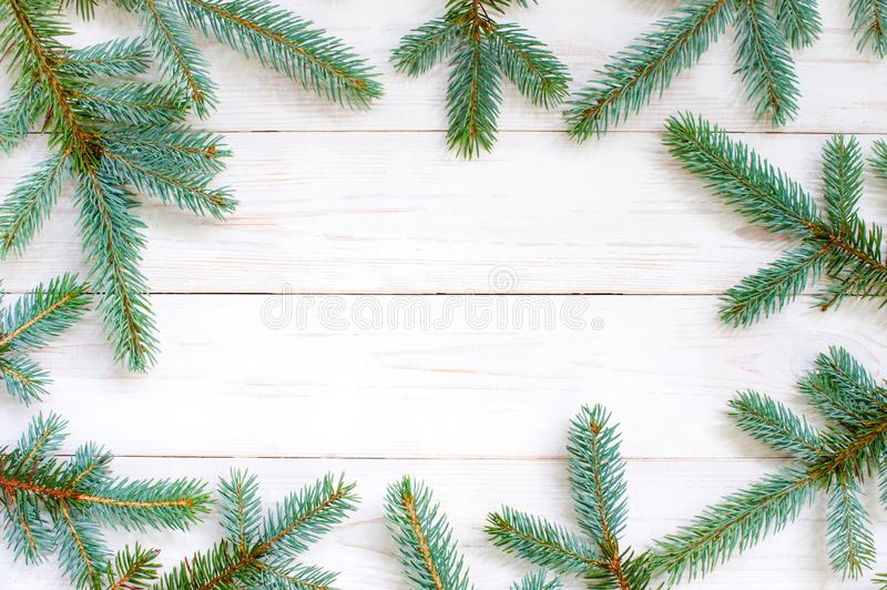 Natural white wooden background with spruce brunches royalty free stock photo