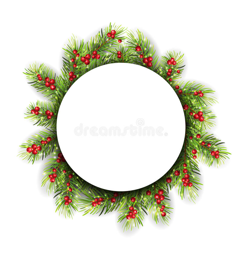 Natural Winter Frame Made in Fir Twigs and royalty free illustration
